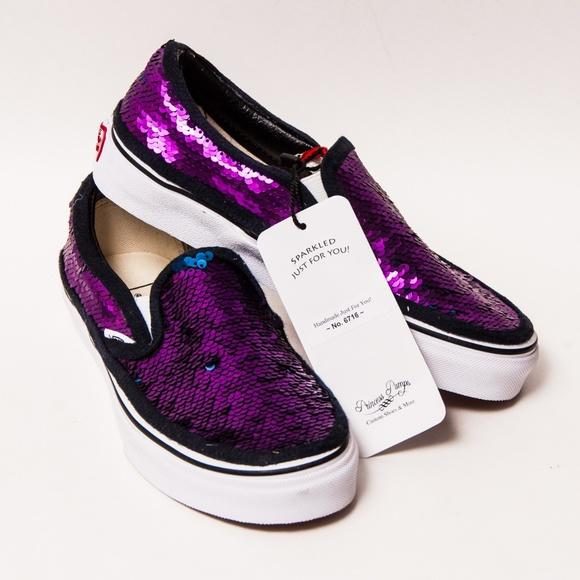 c52429d52e Purple Navy Sequin Vans Slip On Skate Shoes